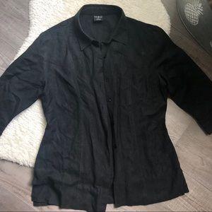 Tribal Black Linen Button Down Top Size 8